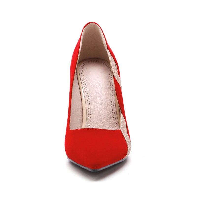 Flock Talons Élégant Dames Grande Femme Bout 10 De Taille Cm Femmes Daitifen Black Pointu Chaussures red Sexy Haute Marque Noce D'origine CwPf8Tqf