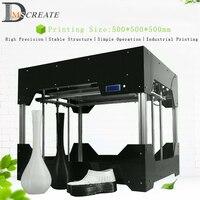 DMSCREATE DP7 500*500*500 мм большой размер печати автоматическое выравнивание 3D принтеры комплект, 24 В источника питания, акриловая рамка