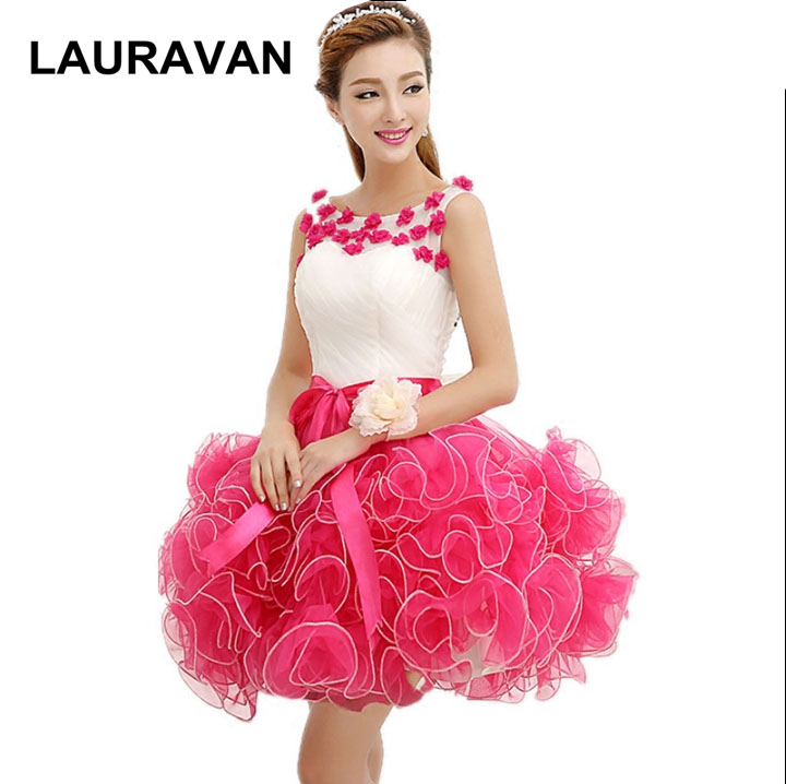 hot pink robe de soiree sweet 16 2019   bridesmaid     dress   teens gowns with flower applique short   dresses   for teenagers ball gown