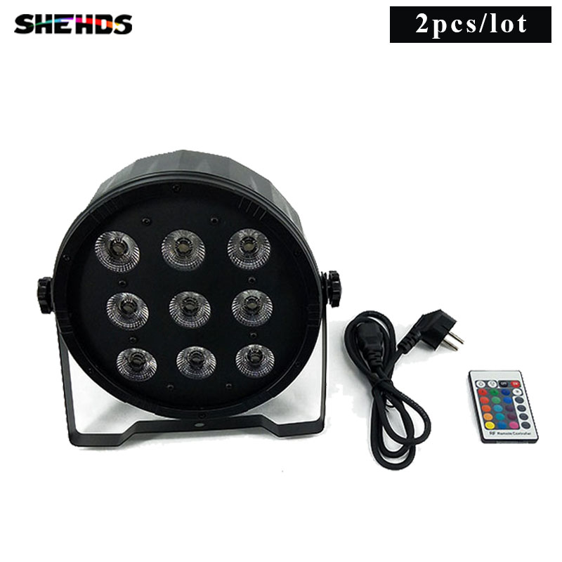 2pce/lot Wireless Remote Control LED Par 9x12W RGBW 4IN1 Luxury DMX 7 Channels LED Flat Par Light  Fast Shipping капри
