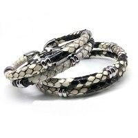 Mens Black Python Skin Leather Bracelets Real Python Skin Leather With Steel Buckle Bracelet With Beads