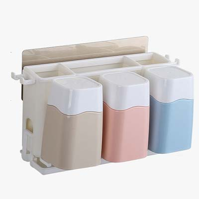 Multi-function No magic stickers, 3 glasses toothbrush holder 27.3*12.8*16cm