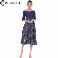 Simgent Women S Summer A Line Casual Vintage Floral Print Slash Neck Cotton Dress Ladies Off