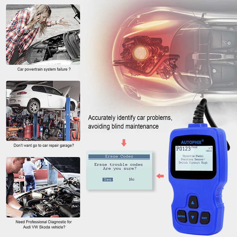 Autophix V007 Car Diagnostic Scanner for Golf Gol Passat A4 A6 Q7 ABS SRS  Oil Service Reset Tool OBD2 Automotive VAG Scanner ODB