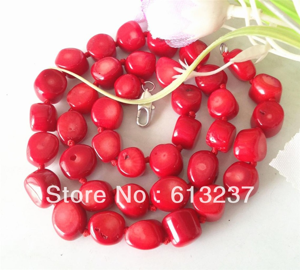 fashion natural 10-15mm red sea coral irregular beads necklace chains semi-precious stone jewelry 19inch MY3369