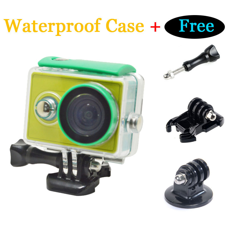 Xiomi Yi Accessories 40M Diving Sports Waterproof Camera Action Case Set with Adapter Mount and Black Buckle Basic for Xiaomi Yi
