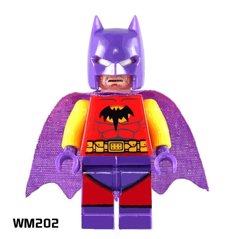 Model Building Building Blocks 50 Pcs/lot Wm202 Purple Helmet Batman Dc Super Hero Avengers Cartoon Toys Assemble Bricks Kids Education Toys Blocks