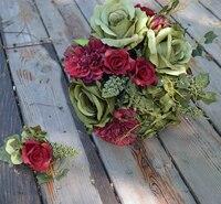 Handmade Artificial Flower Wedding Flower Bride Holding Flowers Red Rose Guelder