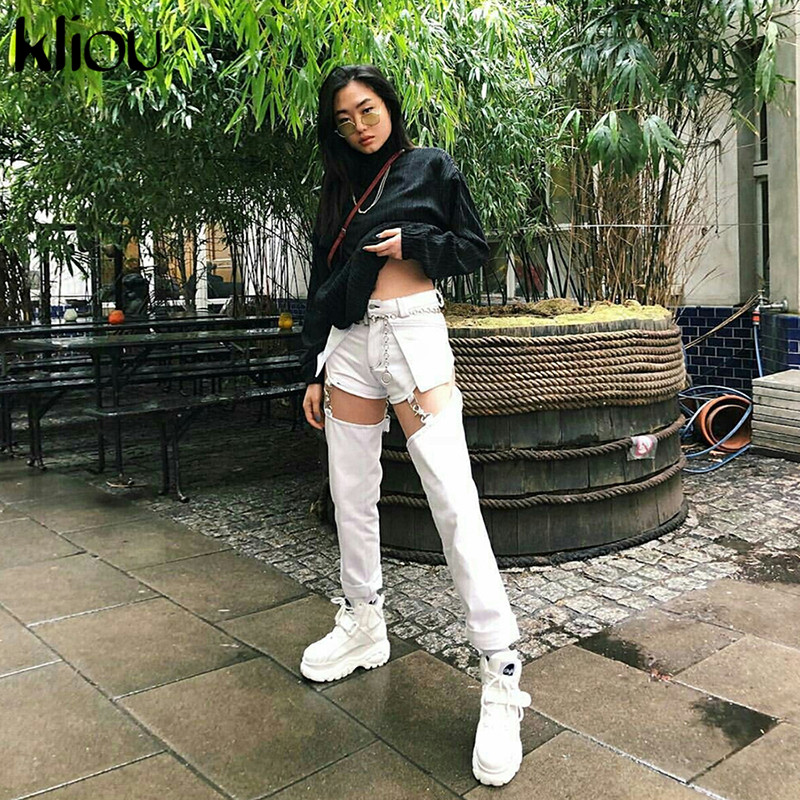 Weirdgirl Patchwork  Hollow Out Pants Women Button Zipper Fly Waist Cargo Pants  Fashion Street Female Workout Casual Trousers