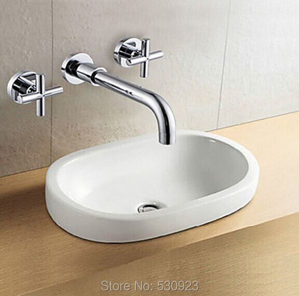US Free Shipping Wholesale And Retail Chrome Finish Bathrom Sink Basin Faucet Mixer Tap Dusl Handle Three Holes Wall Mounted us free shipping wholesale and retail modern chrome finish bathrom waterfall sink basin faucet mixer tap dual holes wall mount