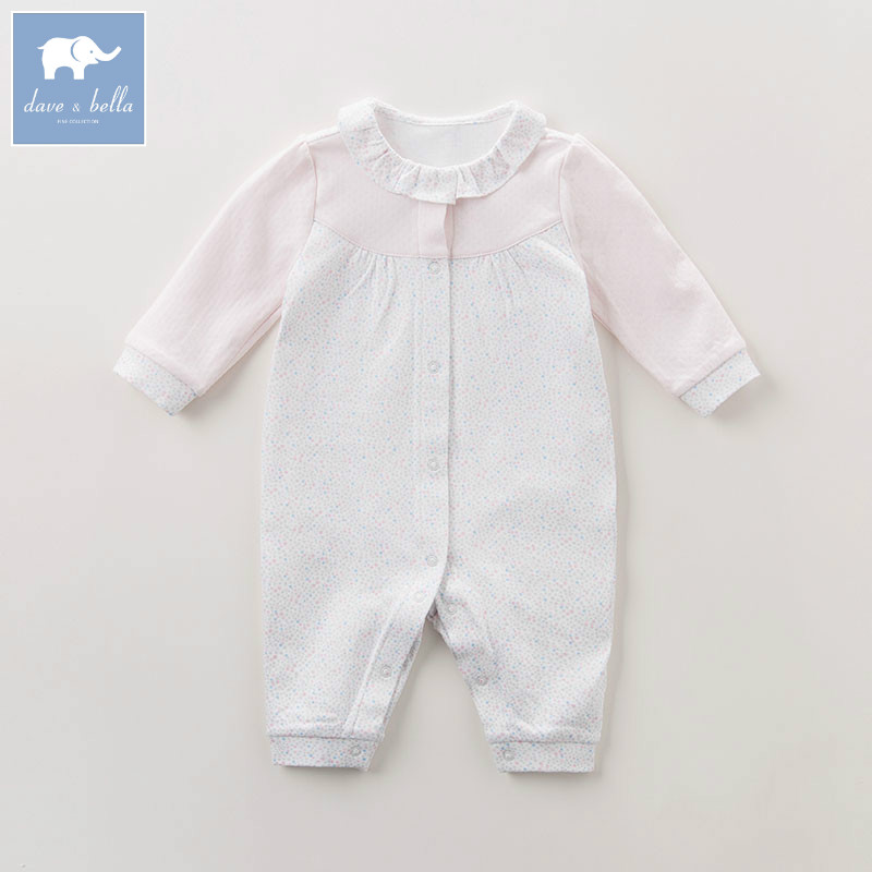 DB6066 dave bella autumn new born baby girls fashion romper infant clothes girls cute romper baby 1 piece db5033 dave bella summer new born baby unisex rompers cotton infant romper kids lovely 1 pc children romper