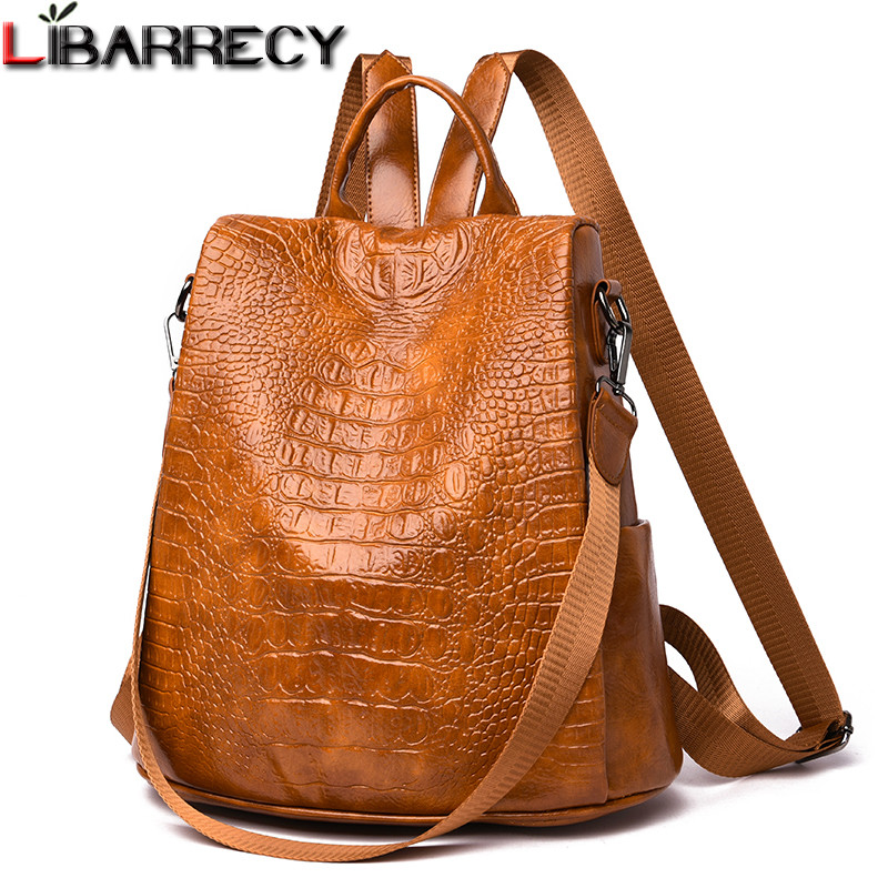 Fashion Classic Anti-theft Backpack Women Crocodile Pu Leather Shoulder Bag Female Vintage School Travel Bagpack Ladies Mochilas