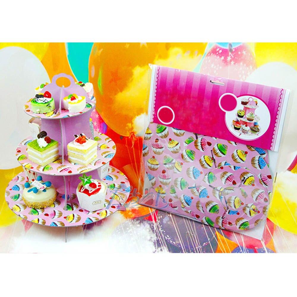3-уровня картона торт стойки DIY картон партия кекс стенд еда блюдо кекс подставка-держатель Главная свадьбу