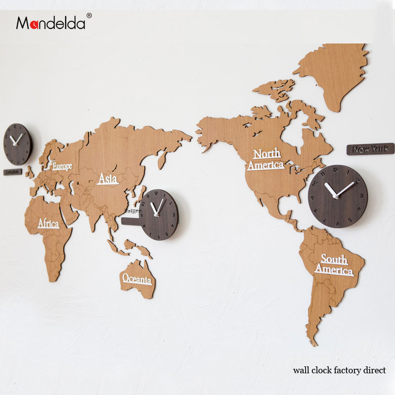 Mandelda Watch Home Promotion Silent 30 inch Wall Clock Modern diy Waterproof Large Decorative World Map Clock for Living Room
