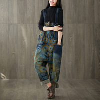 2019 female new autumn and spring plus size printed old washed jeans personality big casual shoulder pants