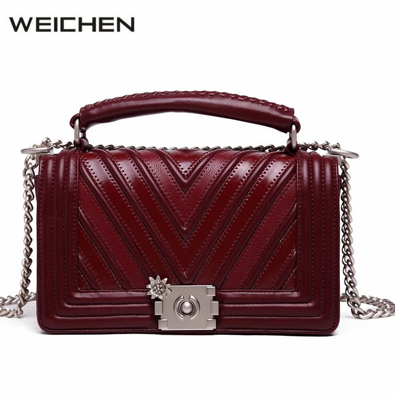 Women Crossbody Bag Chain Red Wine Geometric Designer Small Women's Bags Shoulder Bag Dames Tassen Fashion Handbags 2017 Winter feral cat ladies hand bags pvc crossbody bags for women single trapeze shoulder bag dames tassen handbag bolso mujer handtassen