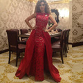 2017 Arabic Myriam Fares Celebrity Dresses Sheath High Collar Sleeveless Lace Long Red Carpet Dresses
