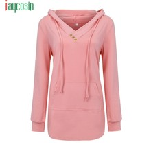 JAYCOSIN Pink Long Sleeve V Neck Pleated Pullover Sweatshirts Winter Women Coat Casual Hoodies Femme Overcoat Plus size 08(China)