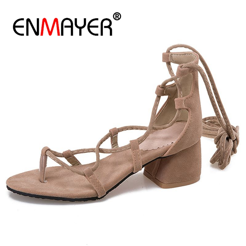 ENMAYER Woman Gladiator Long barrel  Female Middle heels Sandals Shoes women Summer Casual Lace up Open toe Square ZYL035
