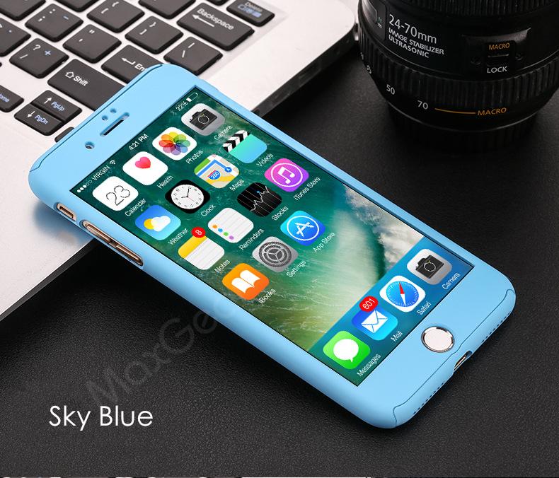 Luksusowe Piano Black 360 Stopni Ciężka PECET Skrzynki Dla Apple iPhone 5 5S SE 6 6 S 7 Plus Szczupła Całe Ciało Pokrywa Capa + Szklany Ekran Protector 17