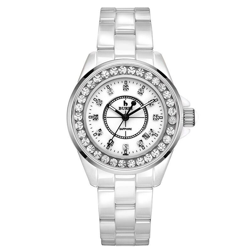 Aliexpress.com  Comprar BUREI 8003 Suiza reloj mujeres de lujo marca J12  calendario serie cerámica diamante moda zafiro blanco relogio feminino de  feminino ... a758cbba8e4d