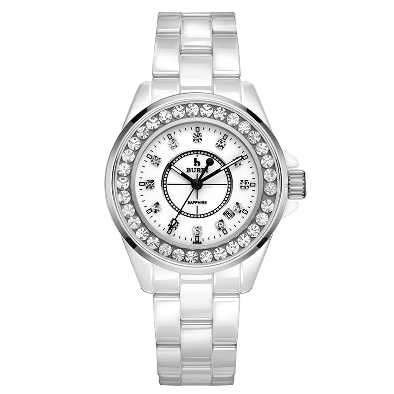 BUREI 8003 Switzerland watch women luxury brand J12 series calendar Ceramic diamond fashion sapphire lady white relogio feminino цена
