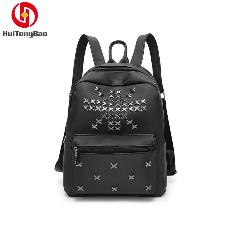 2019 Fashion Ladies Backpack Female Rivet Bag Student Women Shopping