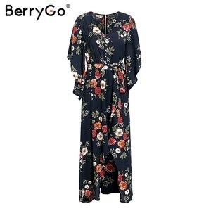 Image 5 - BerryGo Boho floral print women long dress Summer dresses asymmetrical sleeve sashes split chiffon dresses beach female vestidos