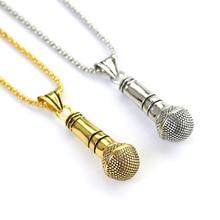 Collar con colgante de micrófono estereoscópico de música Guay, joyería de oro/aleación color plateado para hombres/mujeres, joyería de Hip Hop