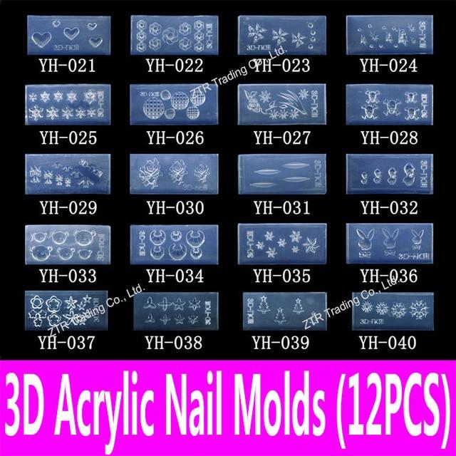 12 szt akrylowe 3d mold narzędzia nail art rzeźba szablon w 139 pre-cut wzorów do napełniania w z akryl & akryl ciecz