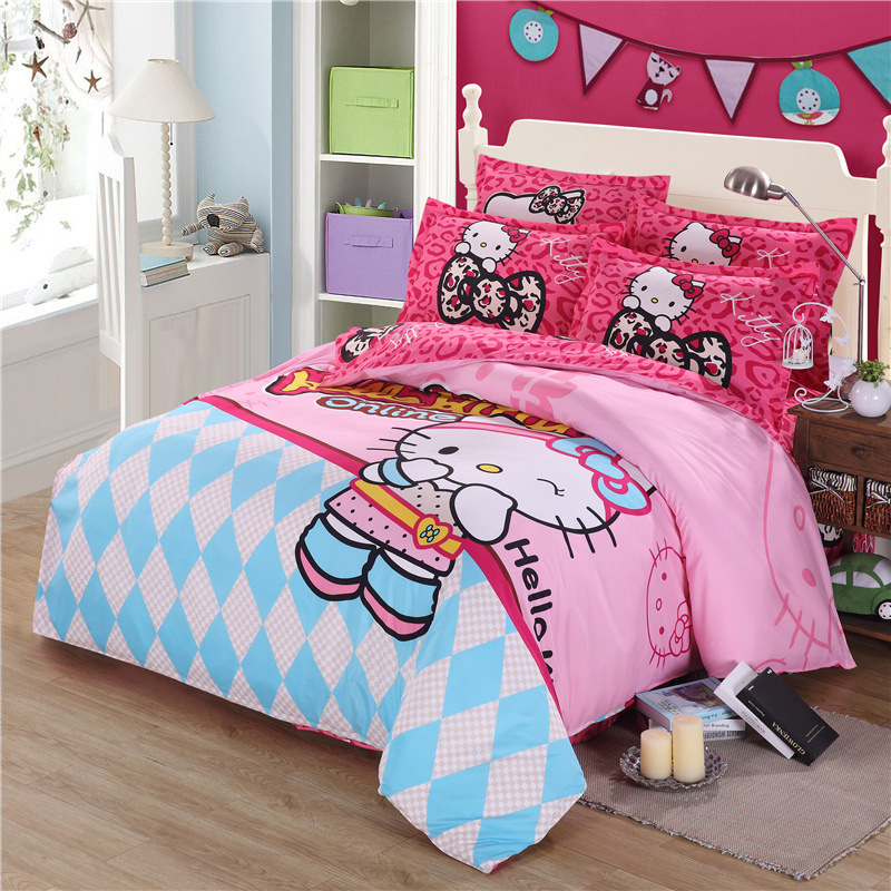 Home Textile Bedding Set Cartoon cut Hello Kitty cat pink Cotton 4pcs Duvet Cover Sets Bed sheet pillowcaseHome Textile Bedding Set Cartoon cut Hello Kitty cat pink Cotton 4pcs Duvet Cover Sets Bed sheet pillowcase