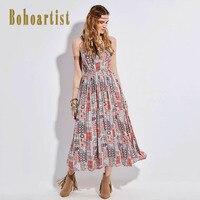 Bohoartist Women Apparel Long Dress Multicolors Strap Lace Up Slash Neck Backless Cotton 2017 Summer Bohemia