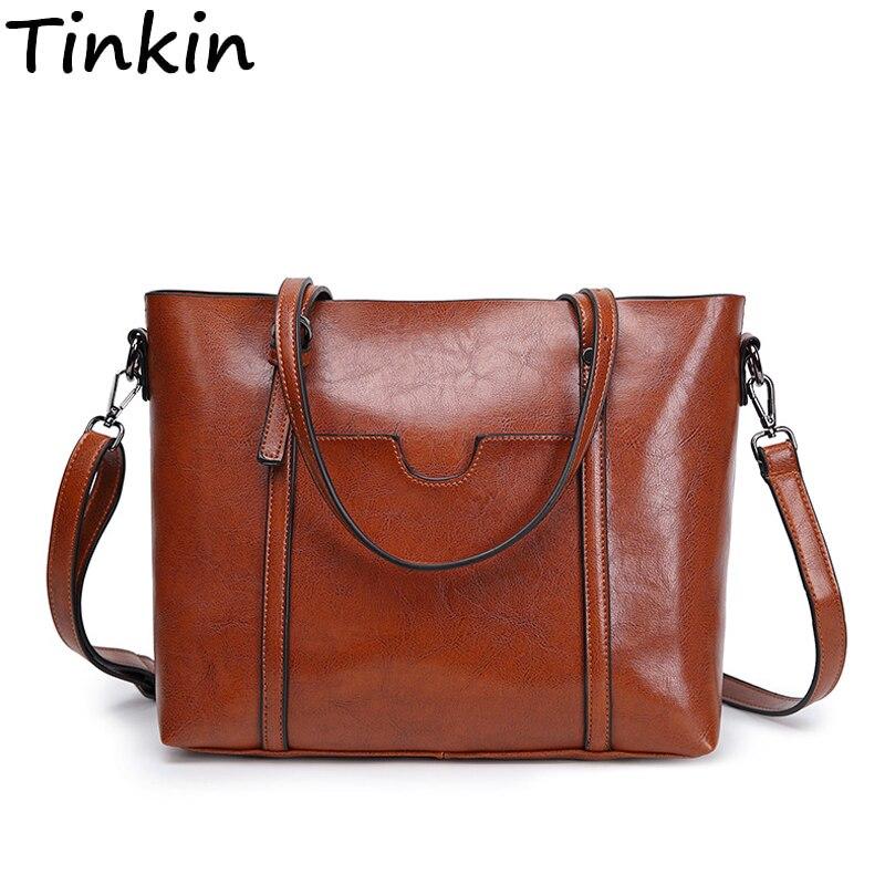 Mode Frauen Handtaschen Öl Wachs PU Leder Große Kapazität Tote Tasche Casual Reisetasche