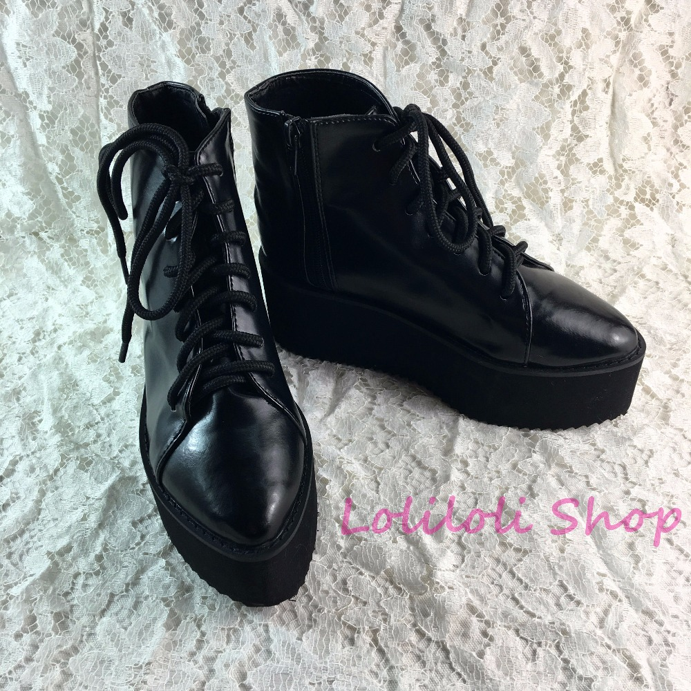 цены Antaina Japanese Punk shoes plus size / special custom black thick bottom high platform shoes goths gothic shoes custom 1301j