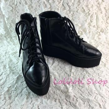 Antaina Japanese Punk shoes plus size / special custom black thick bottom high platform shoes goths gothic shoes custom 1301j