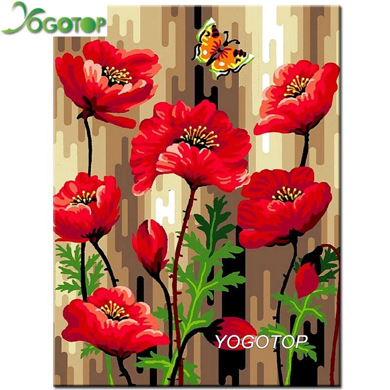 YOGOTOP-peinture diamant, broderie complète 5D, vente avec fleurs de coquelicot, photo avec strass, perceuse, mosaïque, Art mural, YY903