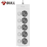 Bull Eu Plug Power Strip 3M G3050 10A 250V Electrical Socket EU Plug Extension Socket Outlet Surge Protector EU Power Strip