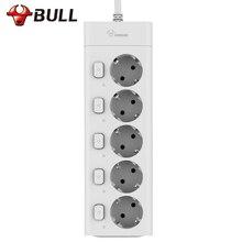 Bull ue plug power strip 3m g3050 10a 250v tomada elétrica ue plug extensão tomada protetor contra surtos tira de energia da ue