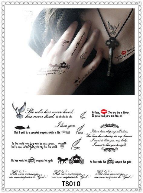 Yeeech Temporary Harajuku Tattoo Sticker Love Quotes Design I Love