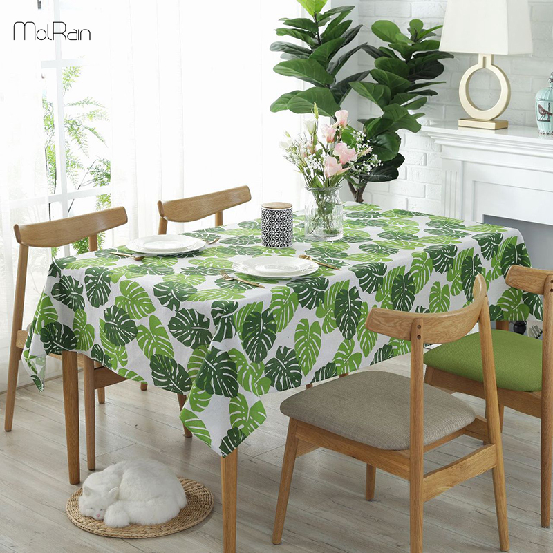 Monstera Green Leaves Tablecloth For Kitchen Dining