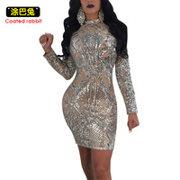 Silver See Through Dress Women 2018 New Fashion Sequine Patchwork Bodycon Dresses Sexy Party Dress Female