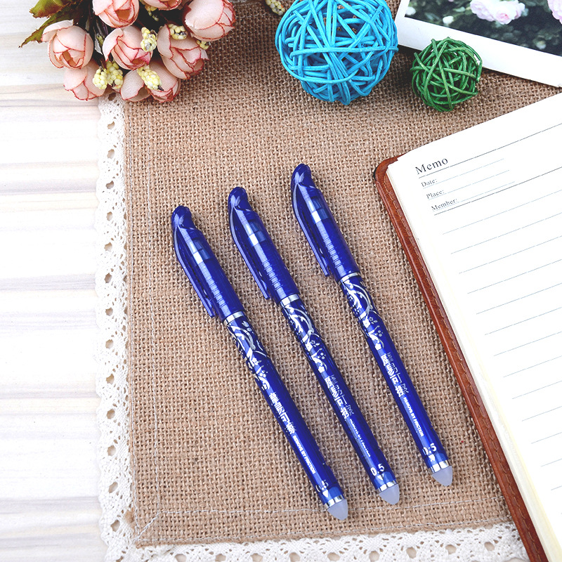 12pcs/lot 0.5mm Erasable Pen Gel Pen Magic Blue Black Ink Erasable Pen Stationery Office School Supplies Gifts mini pocket quality office writing gel ink pen school supplies stationery 0 5mm blue black ink 4 colors pink white blue gray