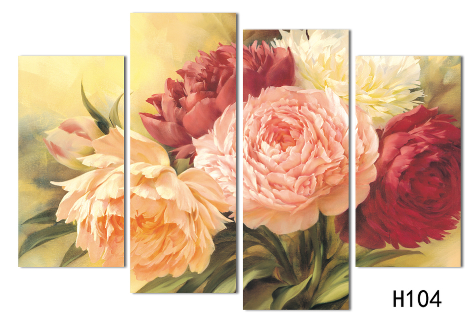 4 gratis forsendelse billig kinesisk rose Modern Art Deco-maleri - Indretning af hjemmet - Foto 3