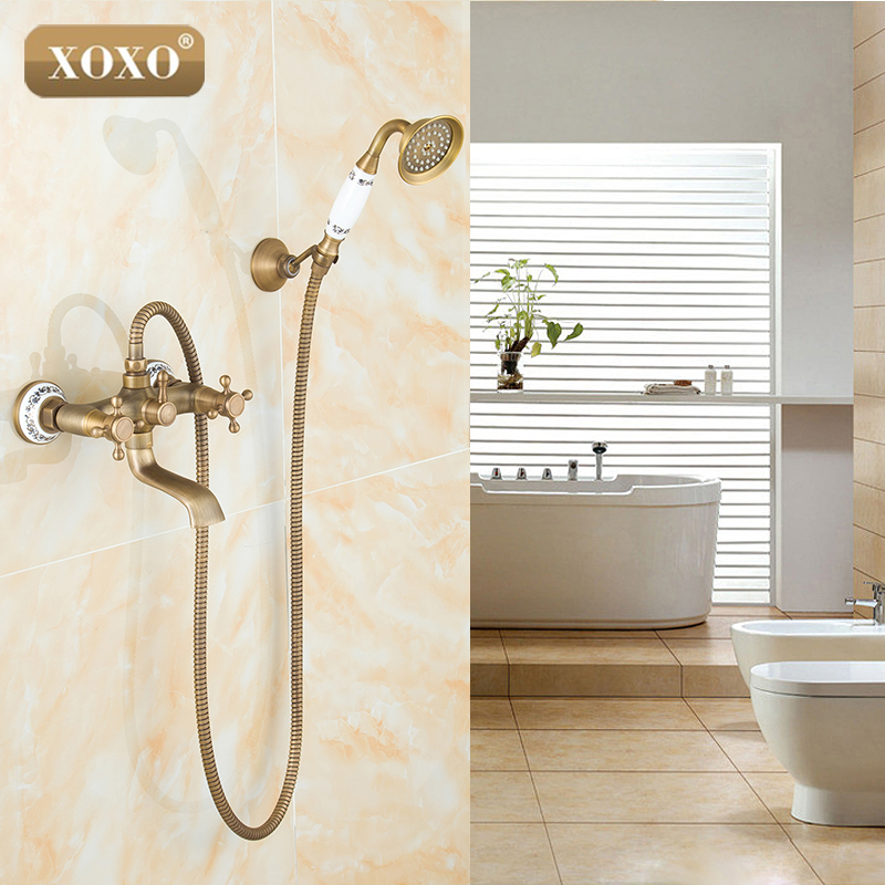 XOXONew arrival Antique Brass Shower Set Faucet+bath tub Mixer Tap+single handle Shower Wall Mounted 50047BT-2 vintage retro antique brass wall mounted bathroom handheld shower faucet set bath tub mixer tap crs019
