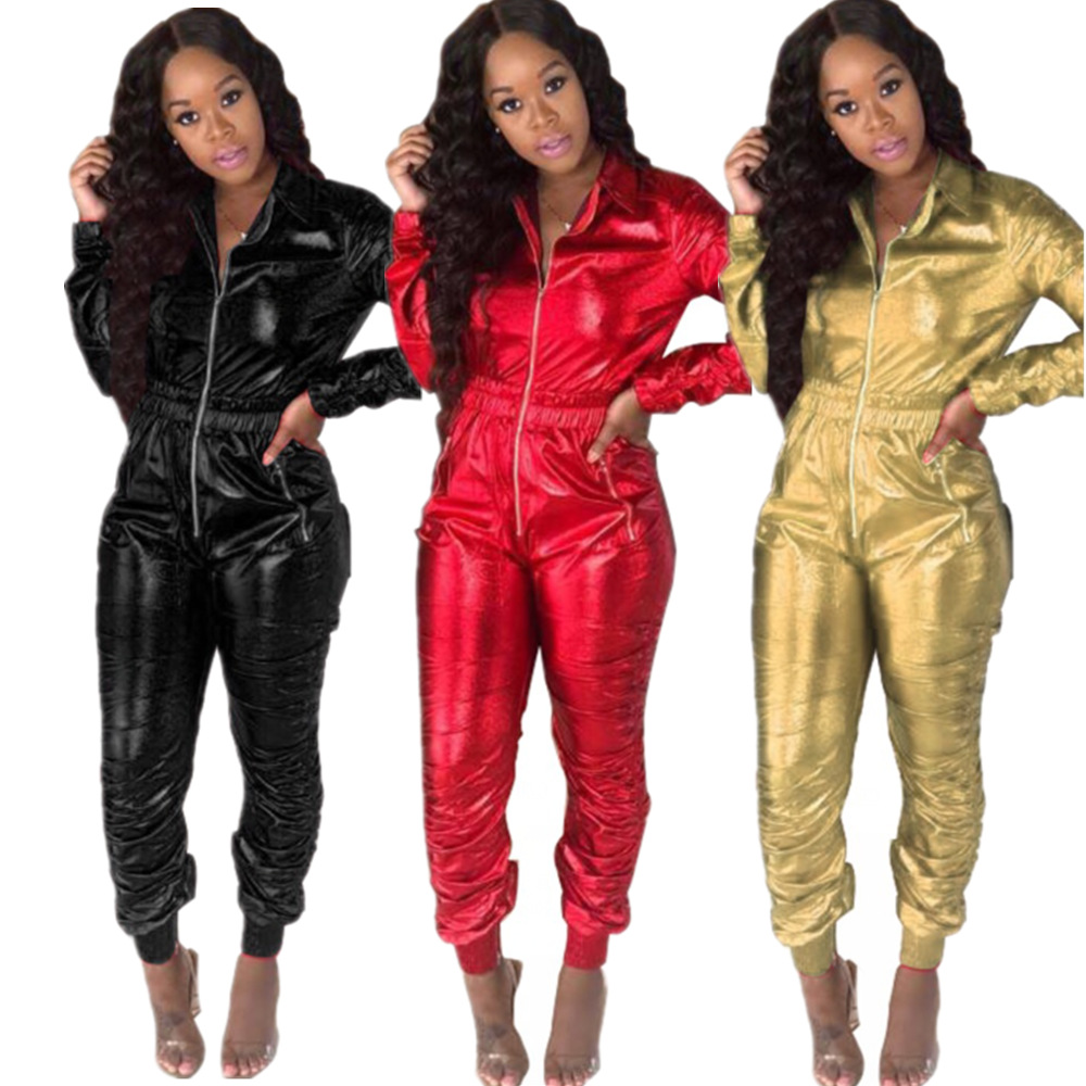 Sexy Long Sleeved  Women Jumpsuit Open Crotch Leotard Bright Leather Tight-fitting Lapel Jumpsuit Zipper Bodysuit