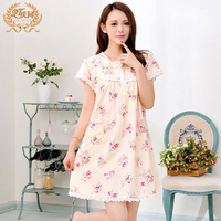 Brand Women Nightgowns 100 Cotton Short Sleeved Nightdress Floral Printed Summer Lace Sweet Sleepwear Pijama Female
