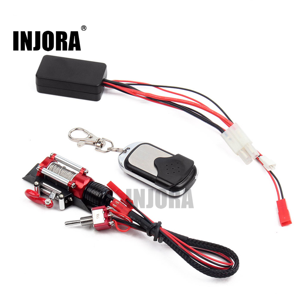 RC Crawler Metal Winch + Wireless Remote Receiver for 1:10 RC Crawler Truck Axial SCX10 D90 night crawler
