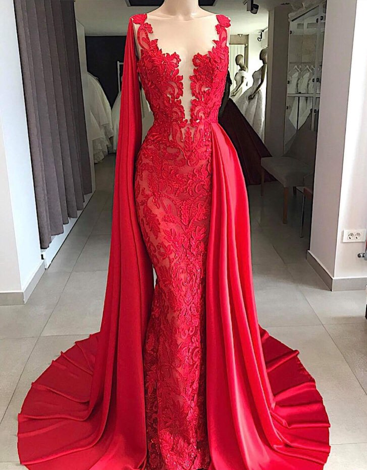 US $139.99 |Elegant Red Lace Mermaid Prom