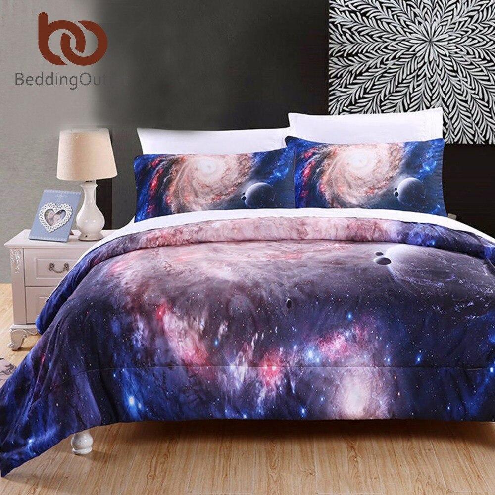 BeddingOutlet ensemble de couette 3D Star Galaxy couette avec taies d'oreiller frais doux couvre-lits 3 pièces lit dans un sac pour chambre marine couette
