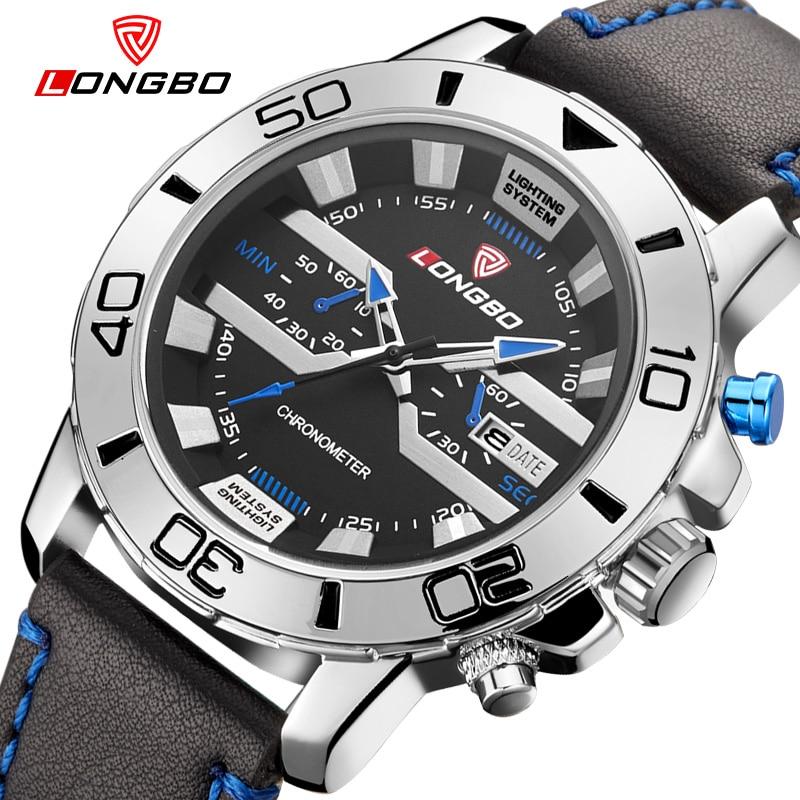Prix pour Unique style LONGBO marque montre hommes bracelet en cuir sport quartz montre avec date grand cadran étanche relogio masculino 2016